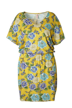 gebloemde jersey jurk okergeel