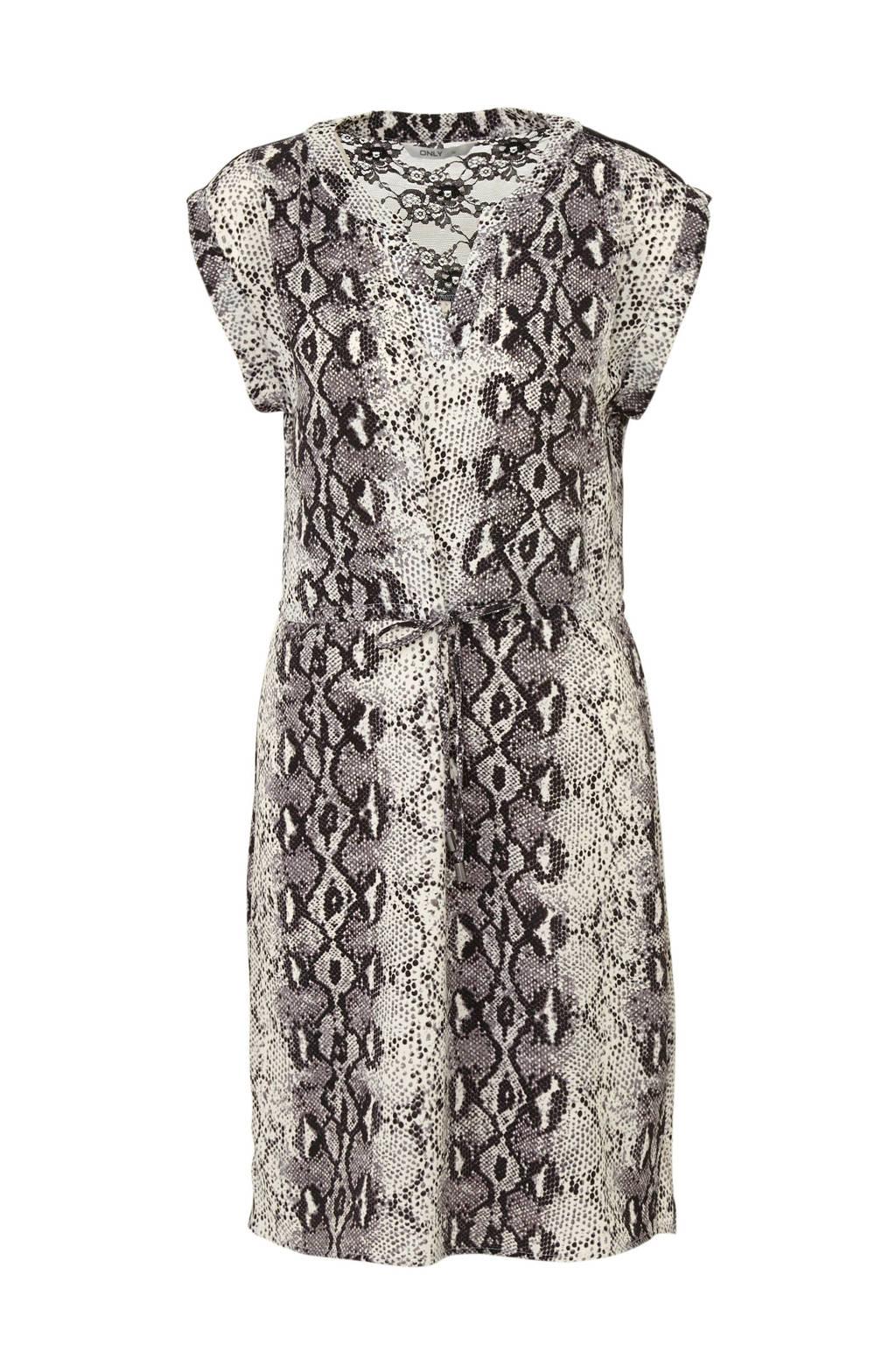 ONLY jurk met slangenprint en kant grijs, Grijs/ zwart/ wit