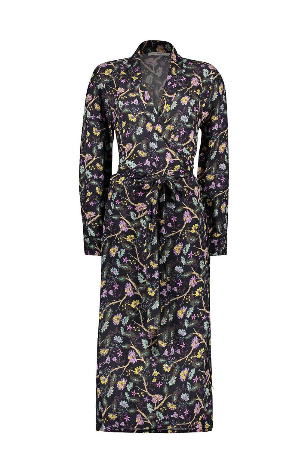 Sissy-Boy overslag jurk met bloemenprint, Zwart/roze/geel/blauw