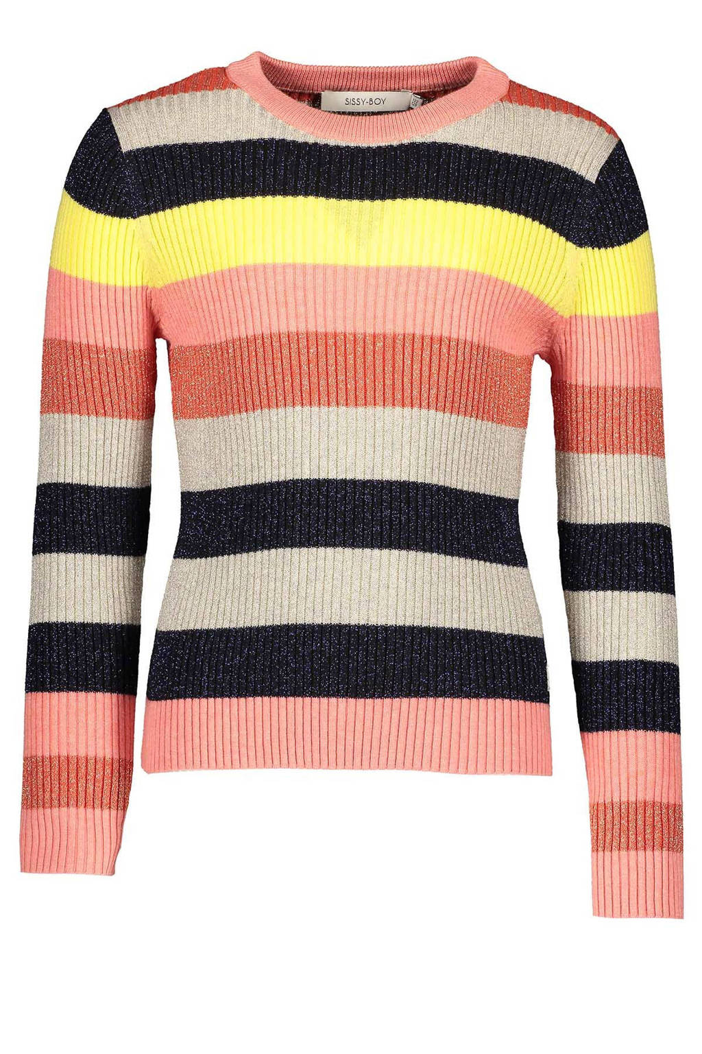 Sissy-Boy trui met strepen, Roze/zwart/geel