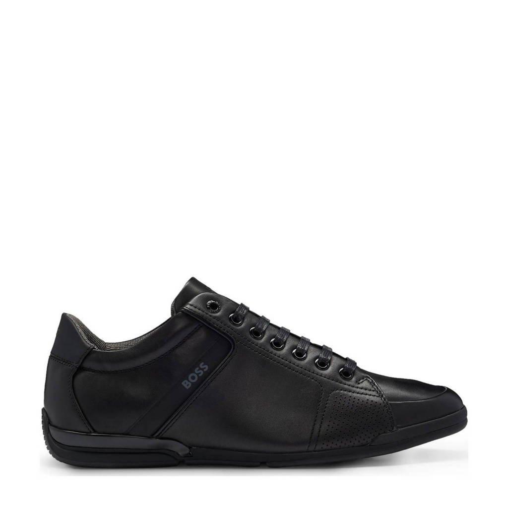 BOSS   Saturn LOWP leren sneakers zwart, Zwart