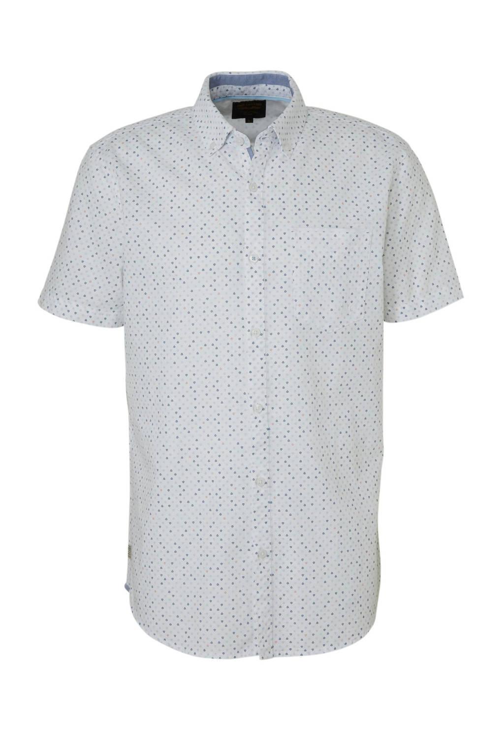 PME Legend overhemd met all-over print wit, Wit/multi-kleuren