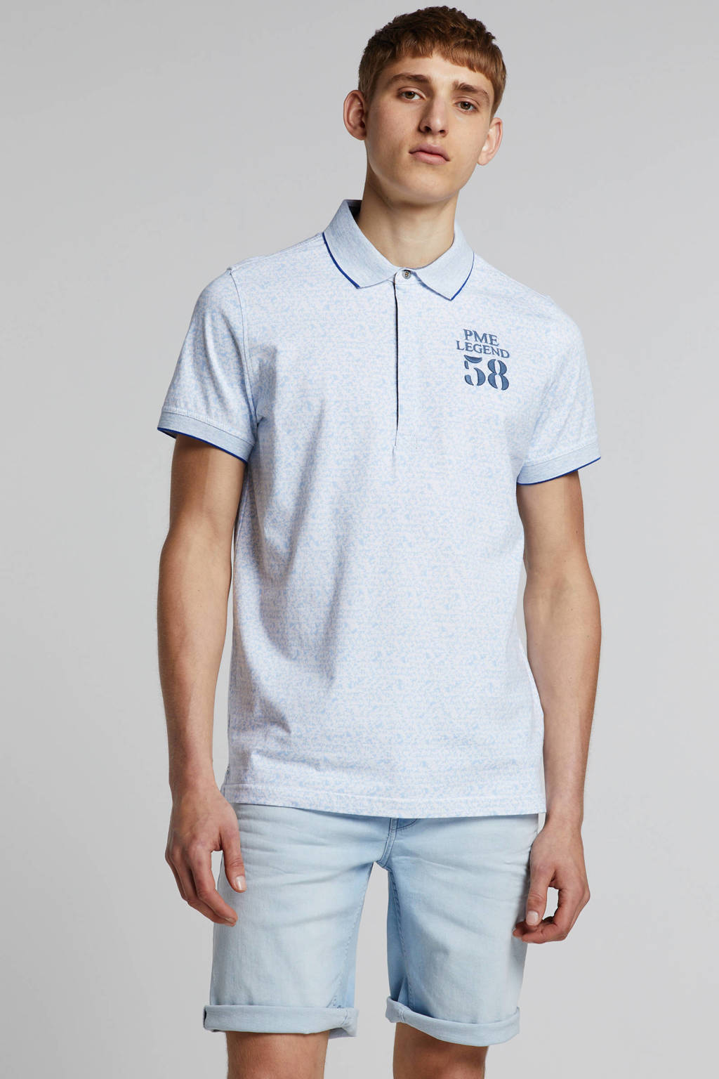 PME Legend regular fit polo met all over print wit/lichtblauw, Wit/lichtblauw