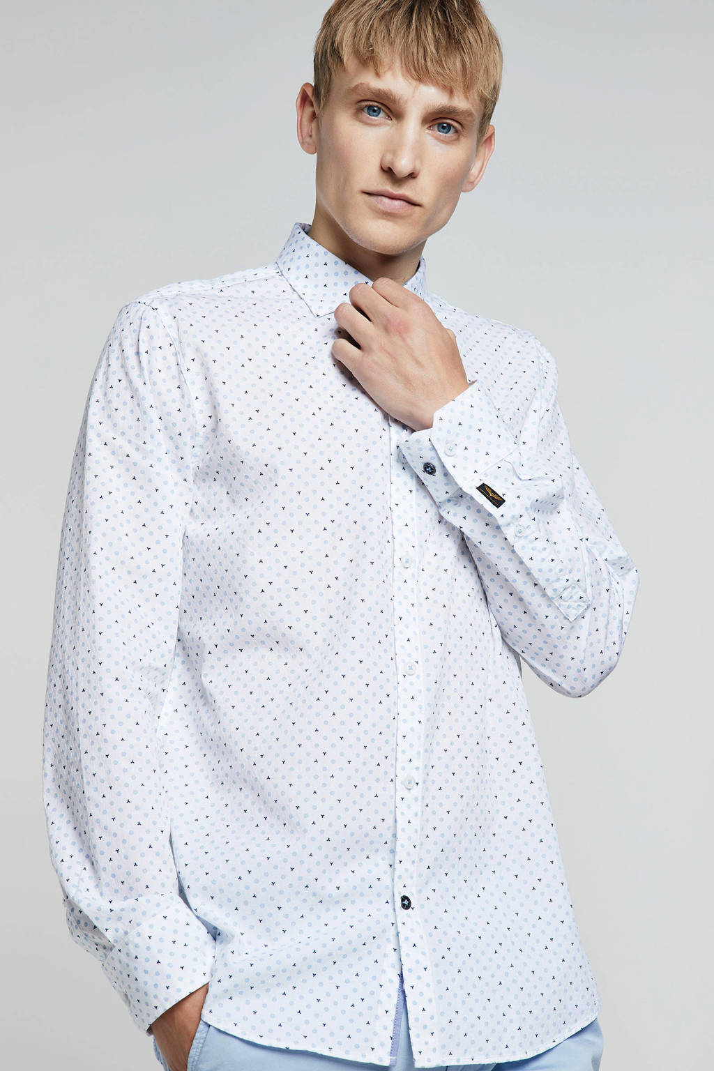 PME Legend overhemd met all-over print, Wit/lichtblauw/donkerblauw