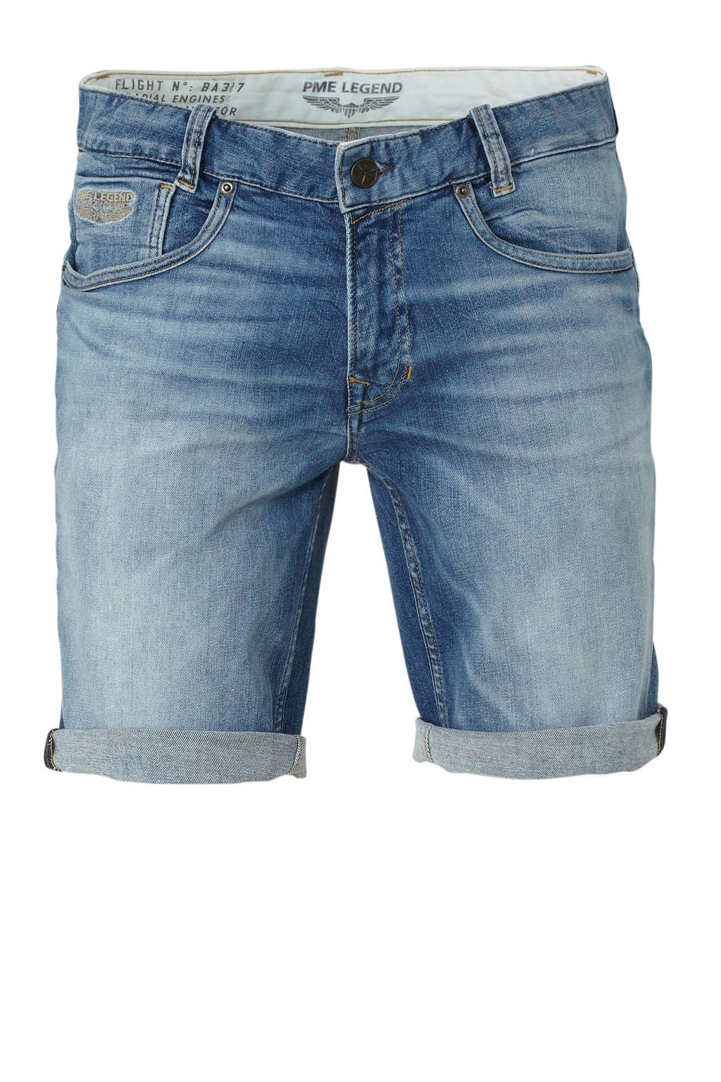 PME Legend regular fit jeans short, Blauw