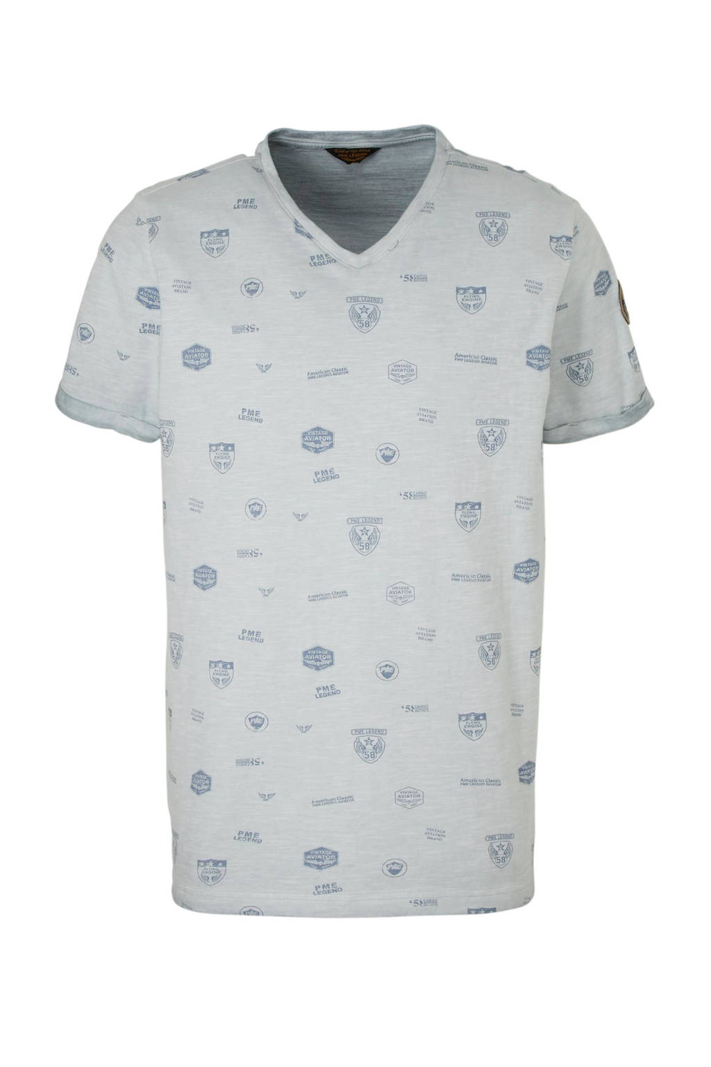 PME Legend T-shirt met all over print, Grijs