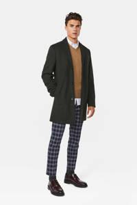 WE Fashion gemêleerde winterjas met wol donkergroen, Donkergroen