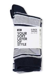 WE Fashion sokken - set van 5, Grijs