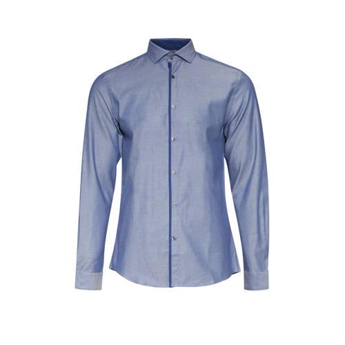 WE Fashion slim fit overhemd royal navy melange