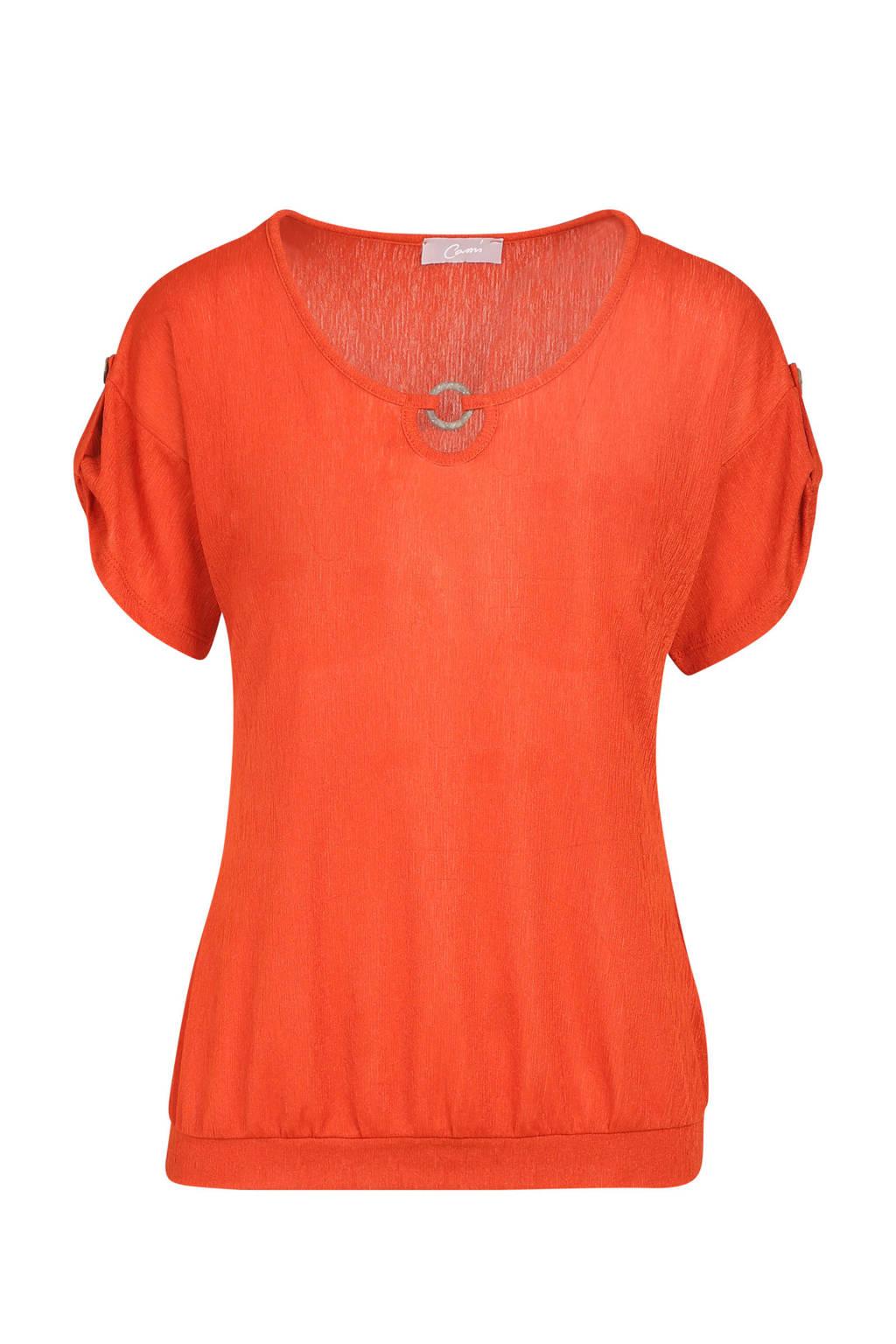 Cassis T-shirt met houten ring detail oranje, Oranje