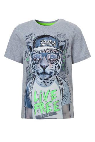 Here & There T-shirt met panter grijsblauw
