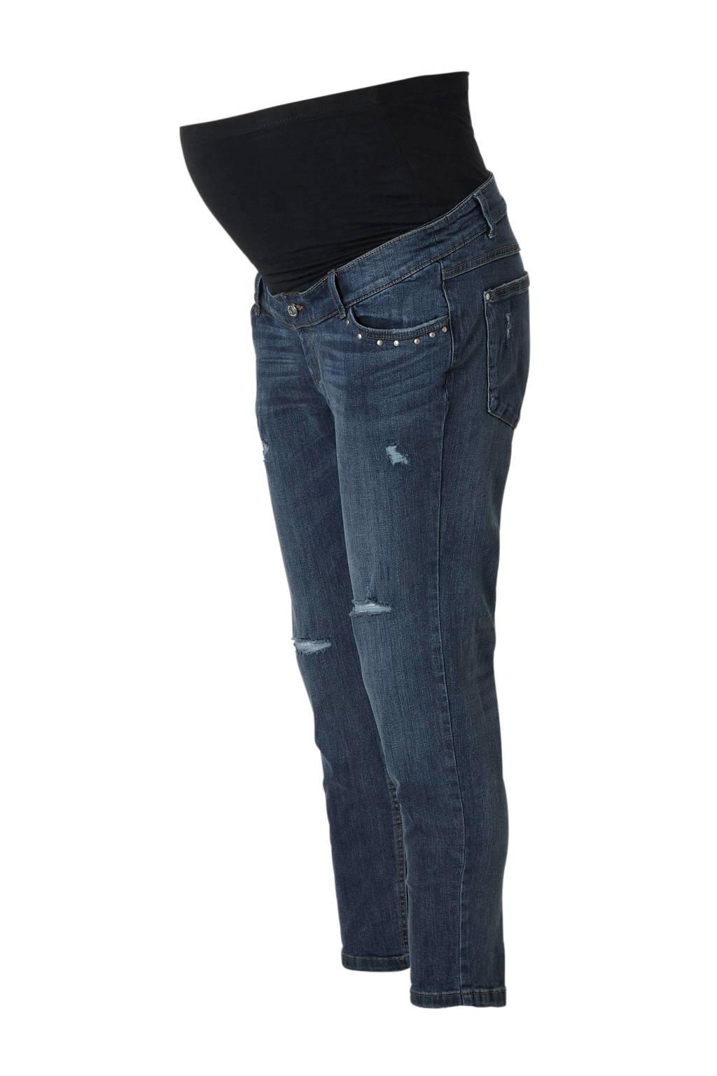 C&A The Denim straight fit zwangerschapsjeans met slijtage details, Dark denim