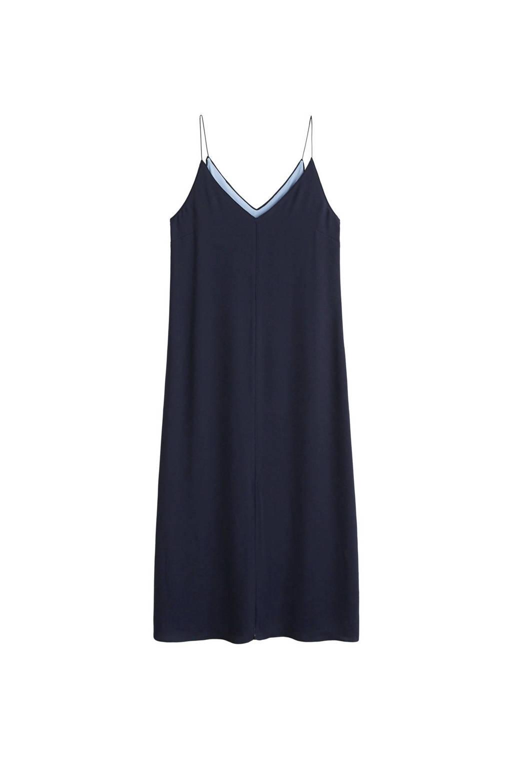 Mango jurk met contrasterende voering, Marineblauw
