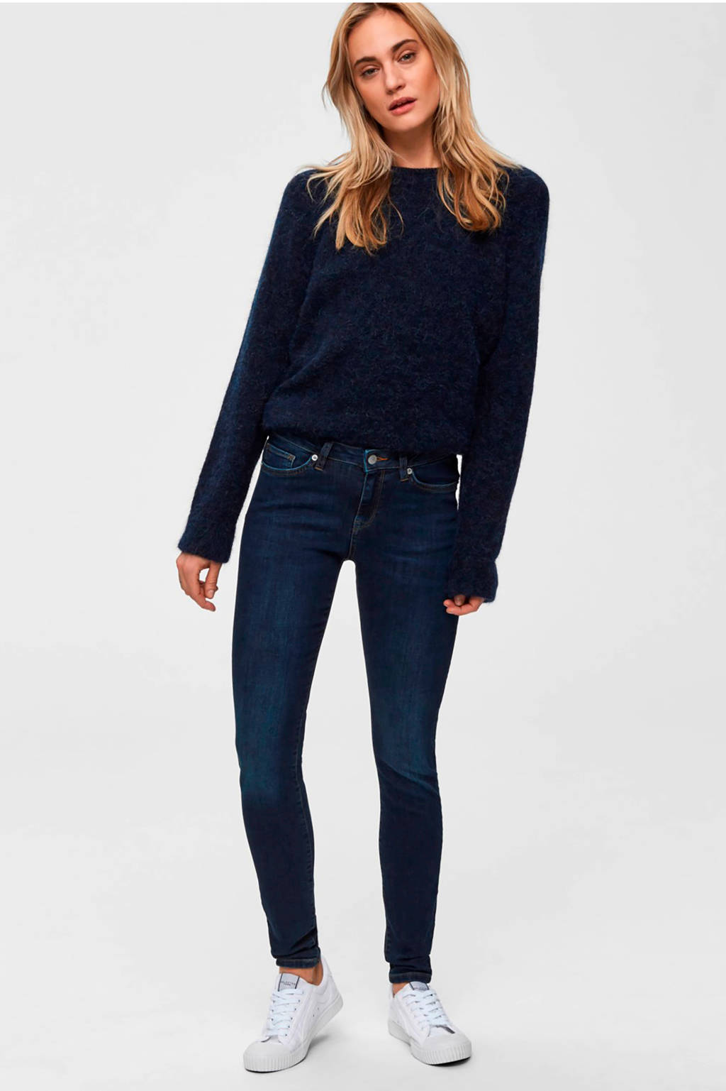 SELECTED FEMME skinny jeans, Donkerblauw