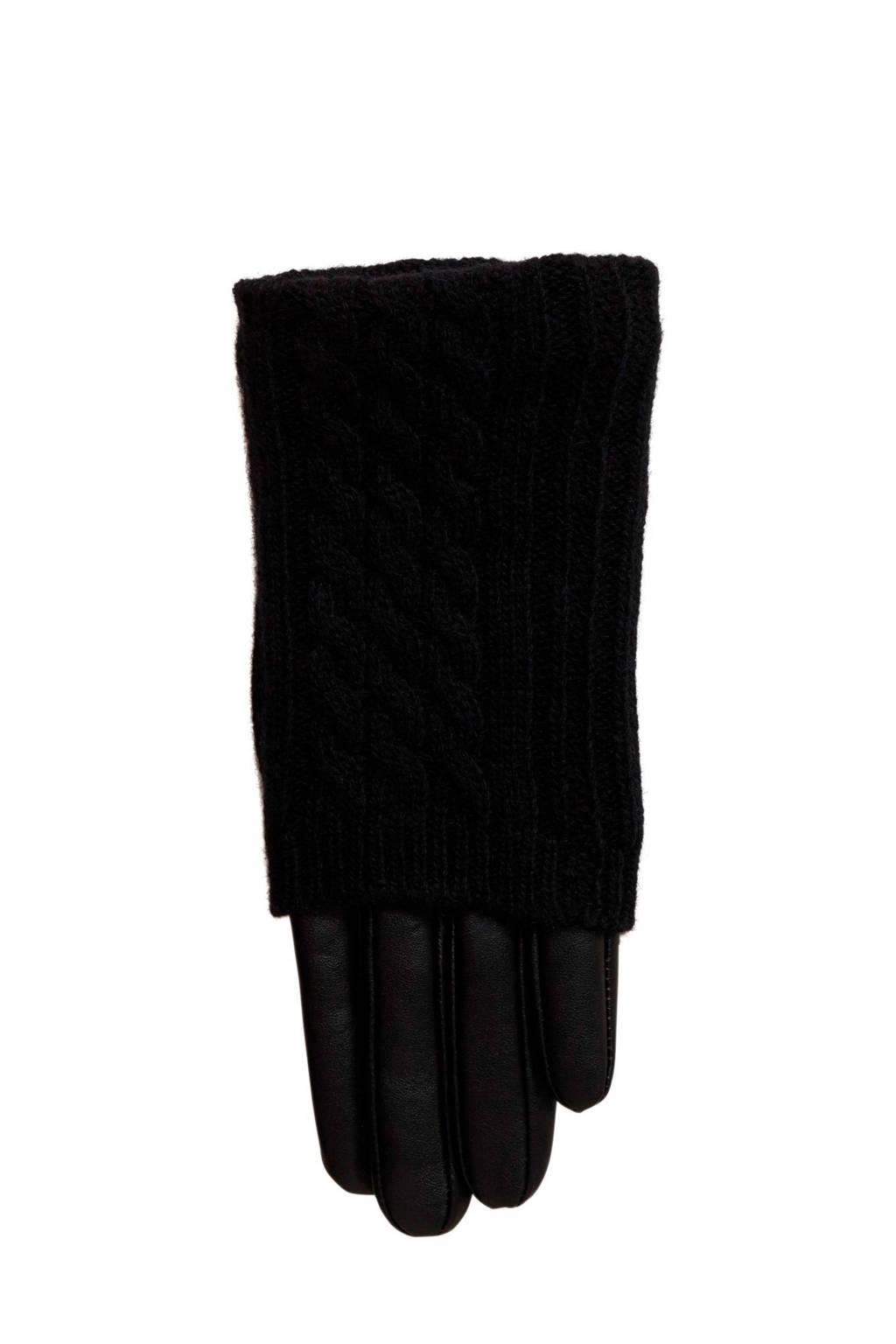 VERO MODA leren handschoen zwart, Zwart