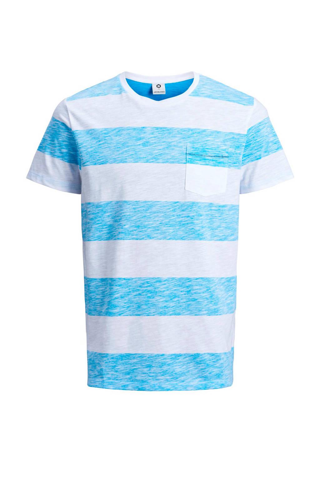 Jack & Jones Core slim fit T-shirt met strepen, Blauw/wit