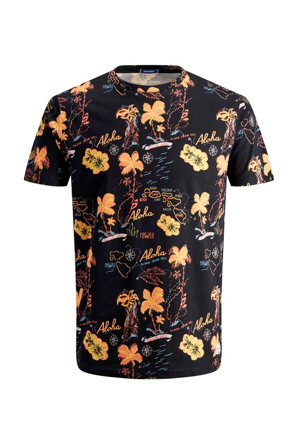 Jack & Jones Originals slim fit T-shirt met all over print, Zwart