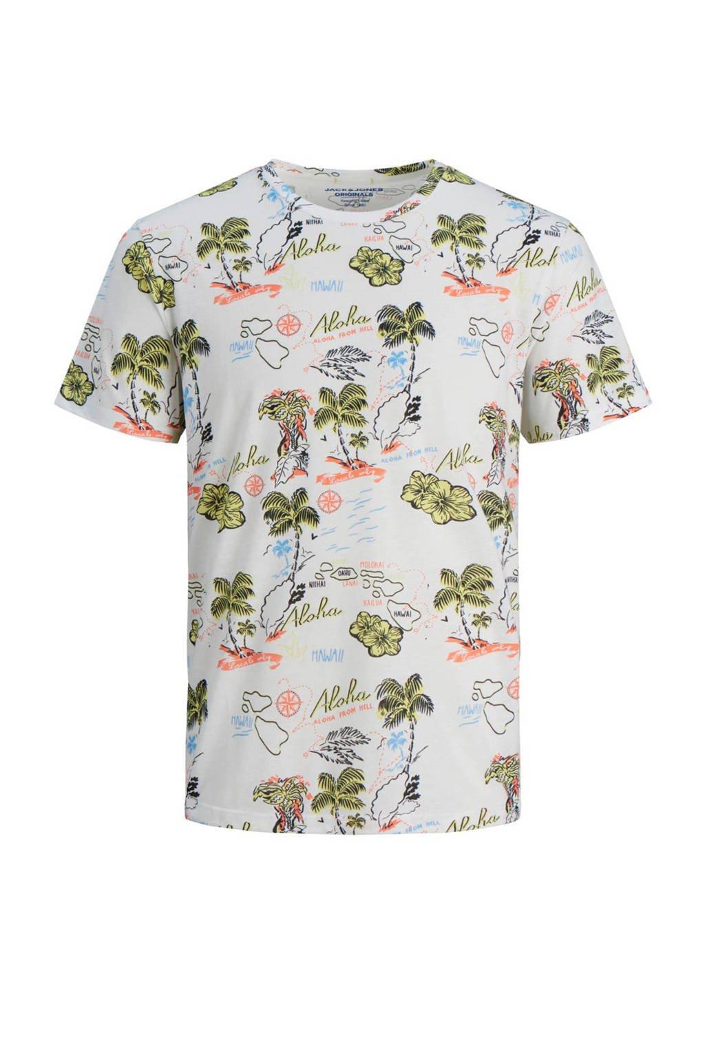 Jack & Jones Originals slim fit T-shirt met all over print, Wit