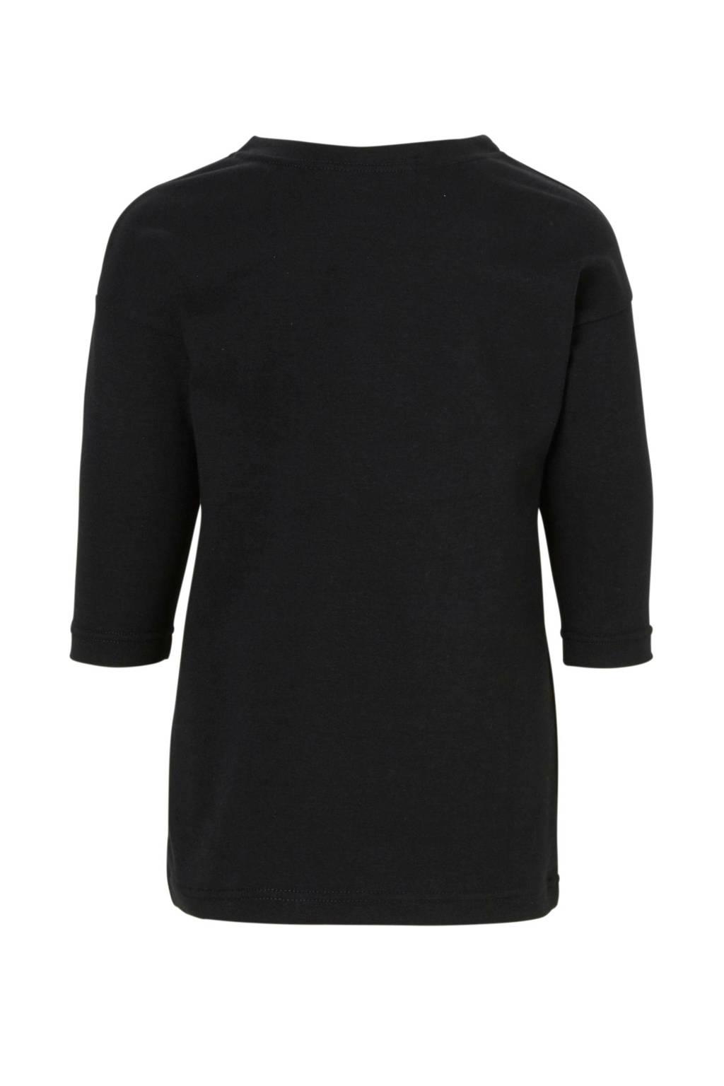 Your Wishes jurk met tekst zwart, Zwart/wit