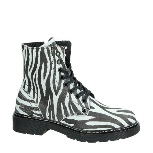 Orange Babies su????de veterboots met zebraprint