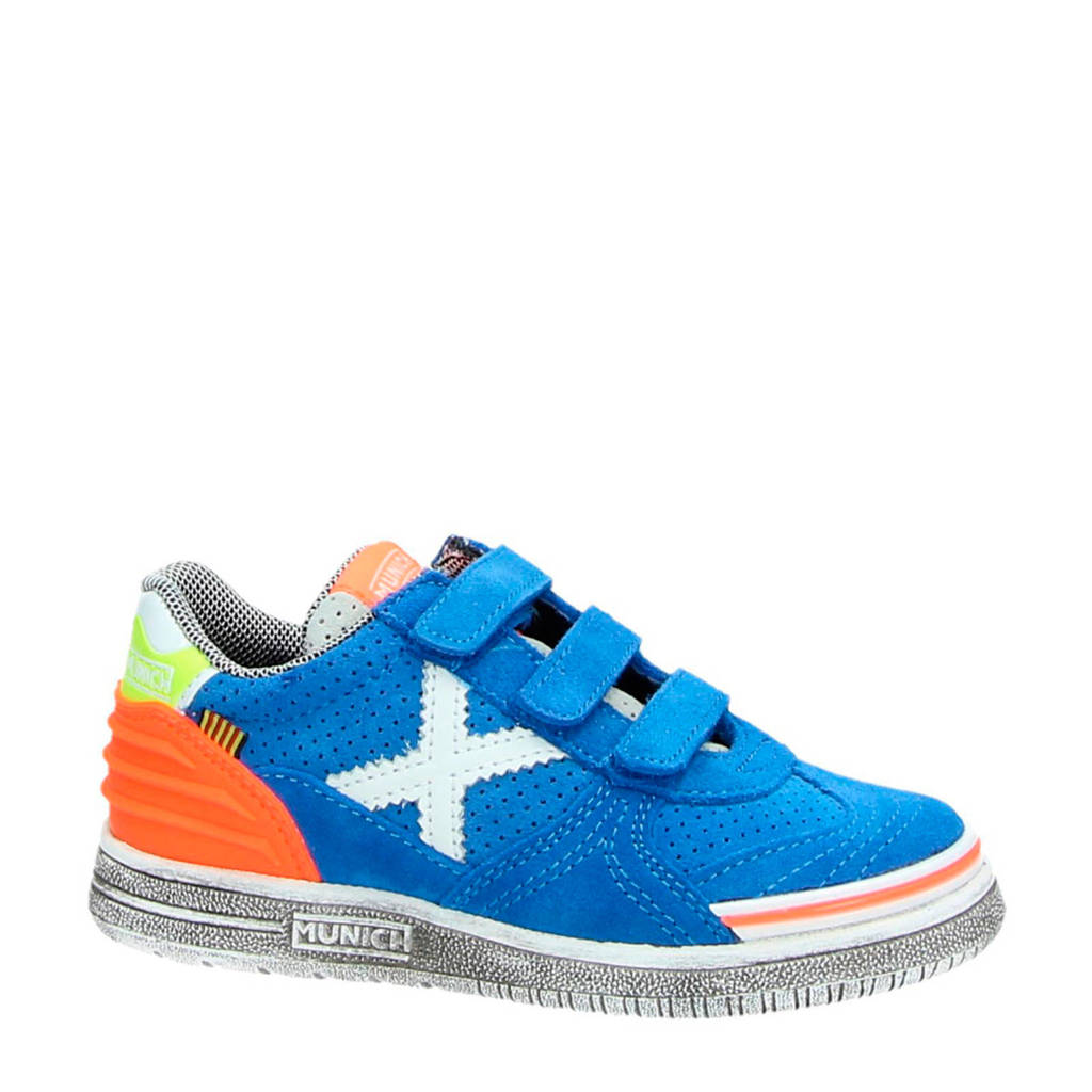 Munich   G-3 KID VCO suède sneakers blauw, Blauw/oranje