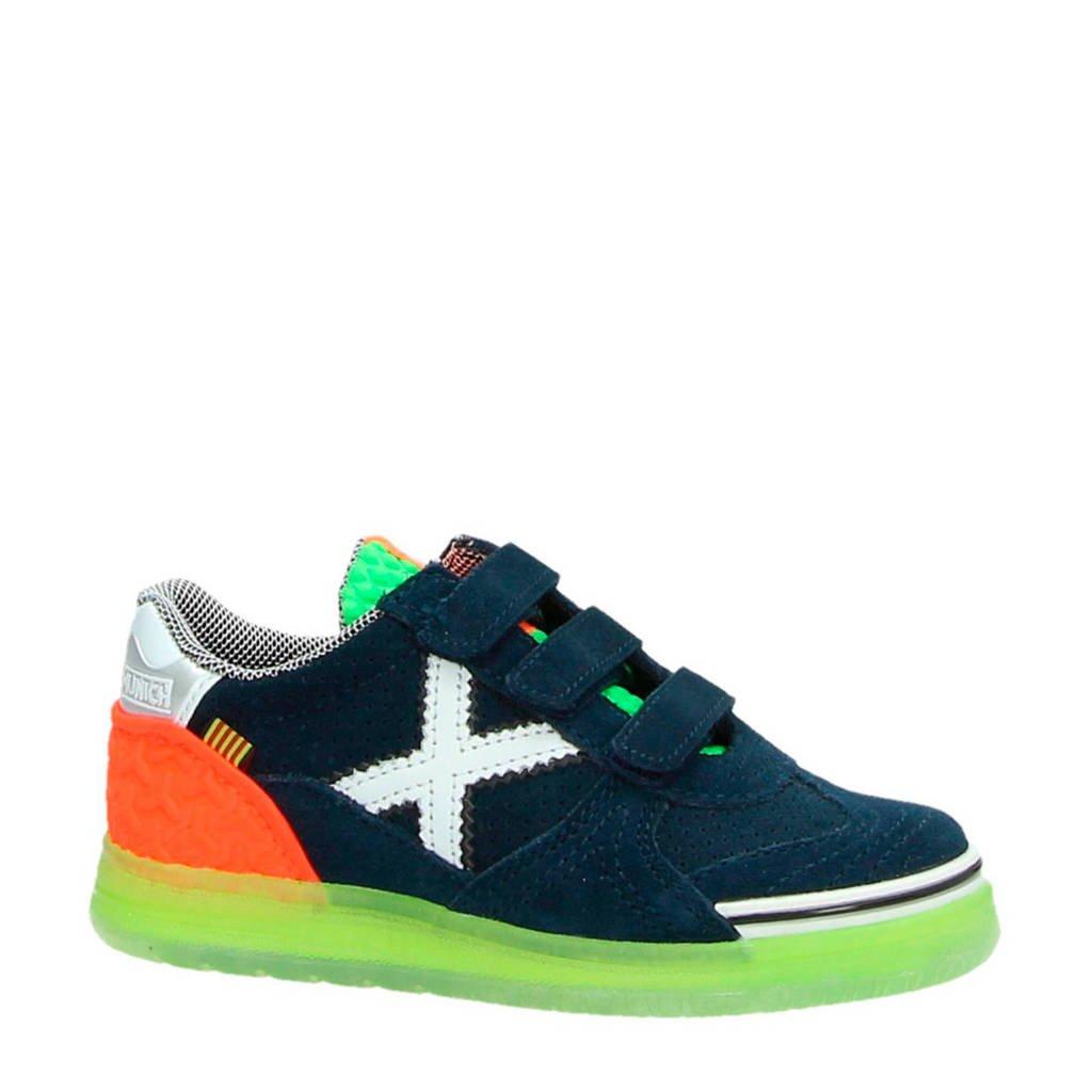 Munich   Velcro suède sneakers donkerblauw, Blauw
