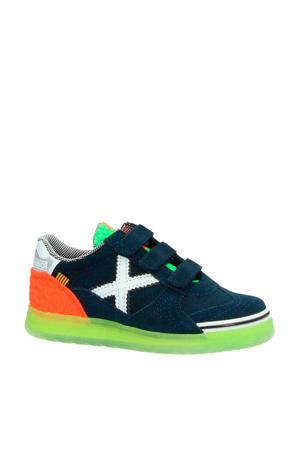 Velcro suède sneakers donkerblauw