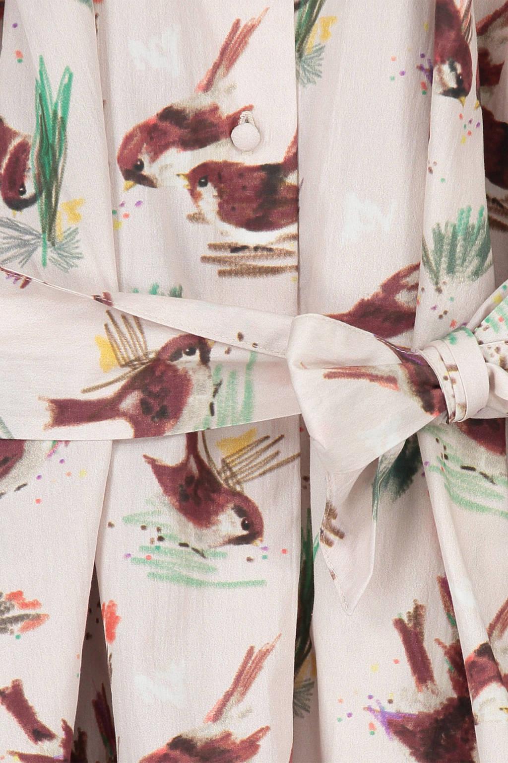 fred + ginger jurk met all over print beige, Beige/roze