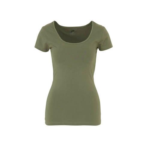 wehkamp T-shirt olijfgroen