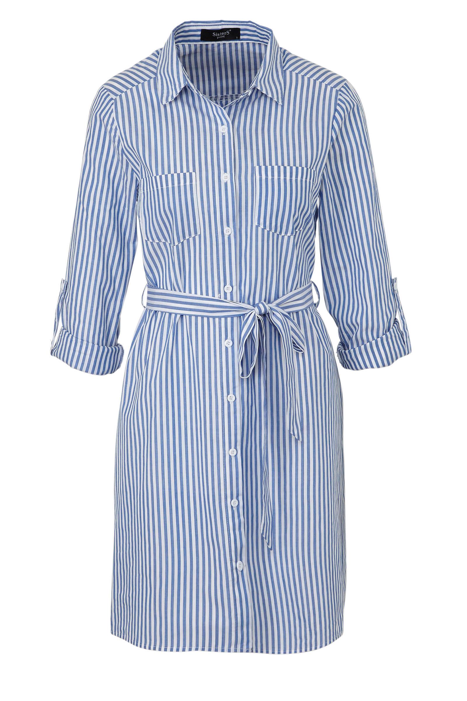 gestreepte blousejurk blauwwit