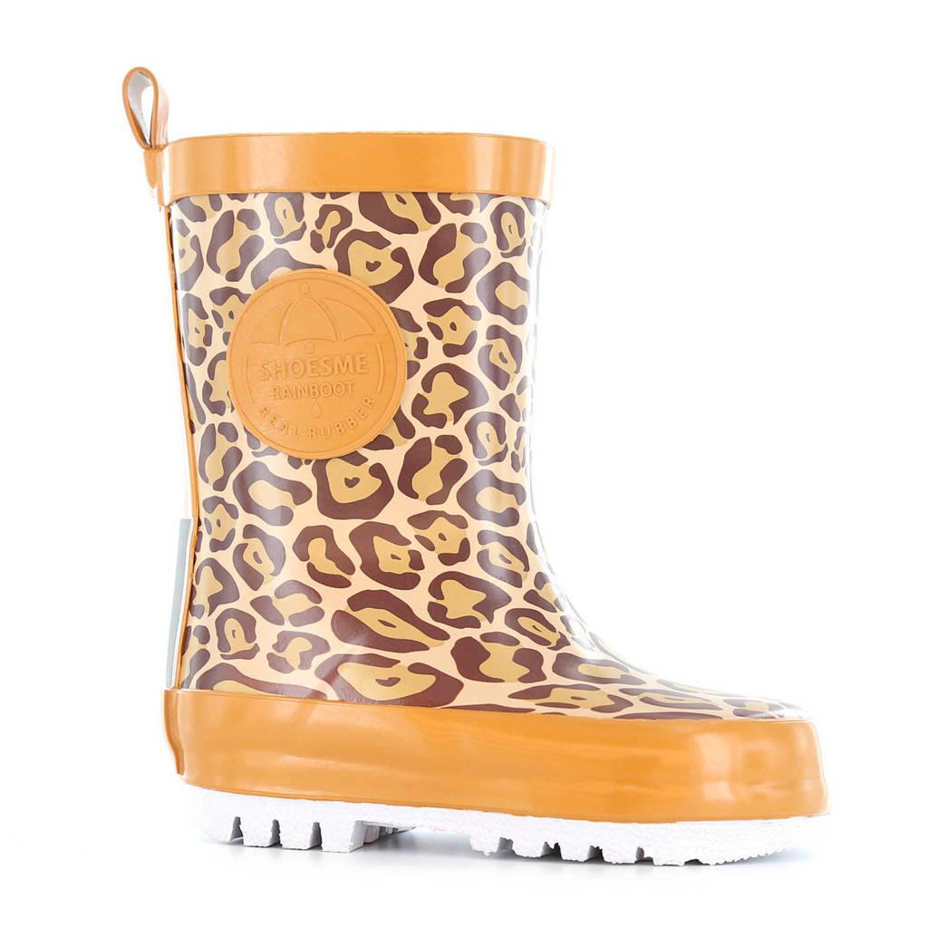 Shoesme   regenlaarzen met luipaardprint, Bruin