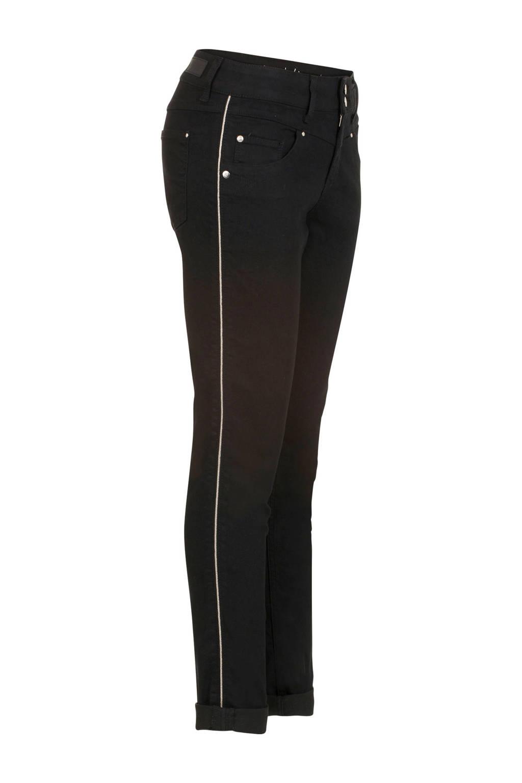 Miss Etam Regulier slim fit broek met zijstreep zwart, Zwart