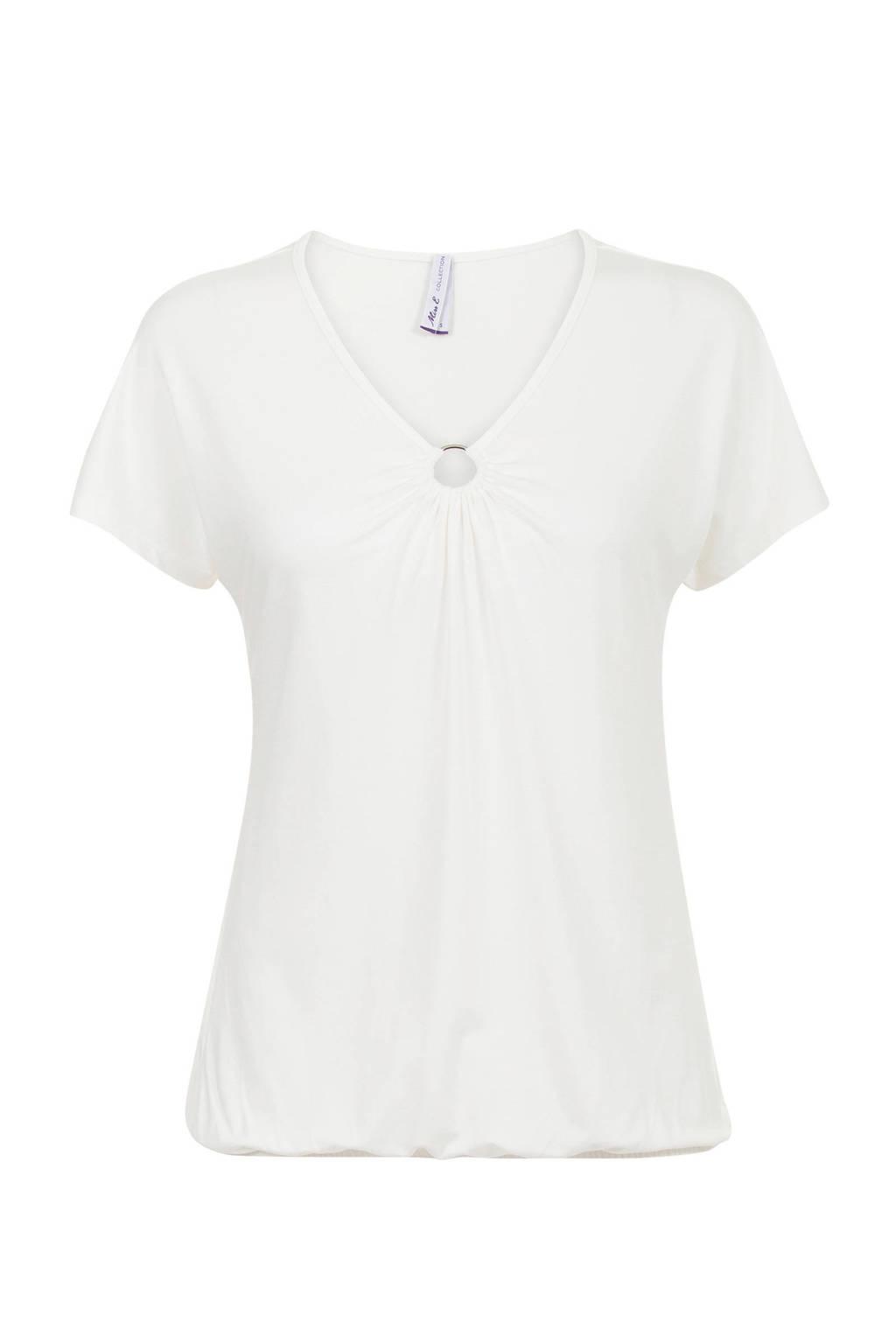 Miss Etam Regulier T-shirt met ring detail, Ecru