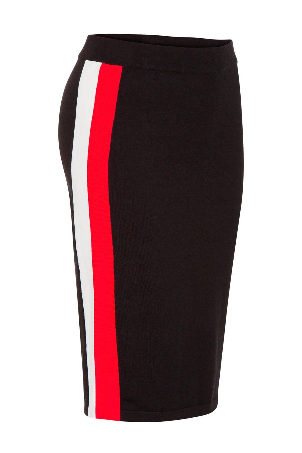 Miss Etam Regulier kokerrok met zijstrepen, Zwart/rood/wit