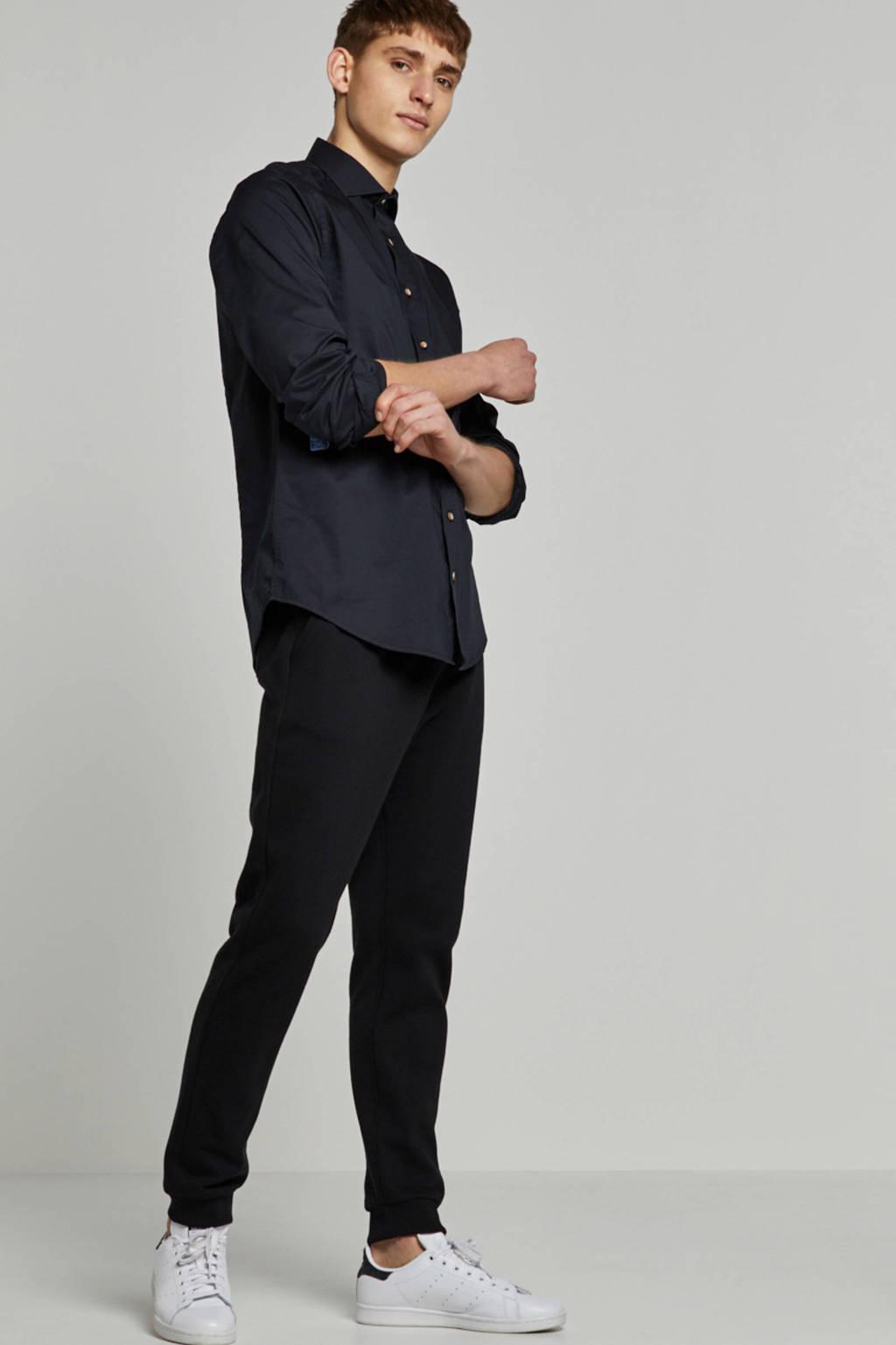 Haze & Finn slim fit overhemd zwart, Zwart