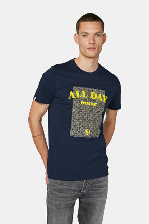 regular fit T-shirt met printopdruk donkerblauw