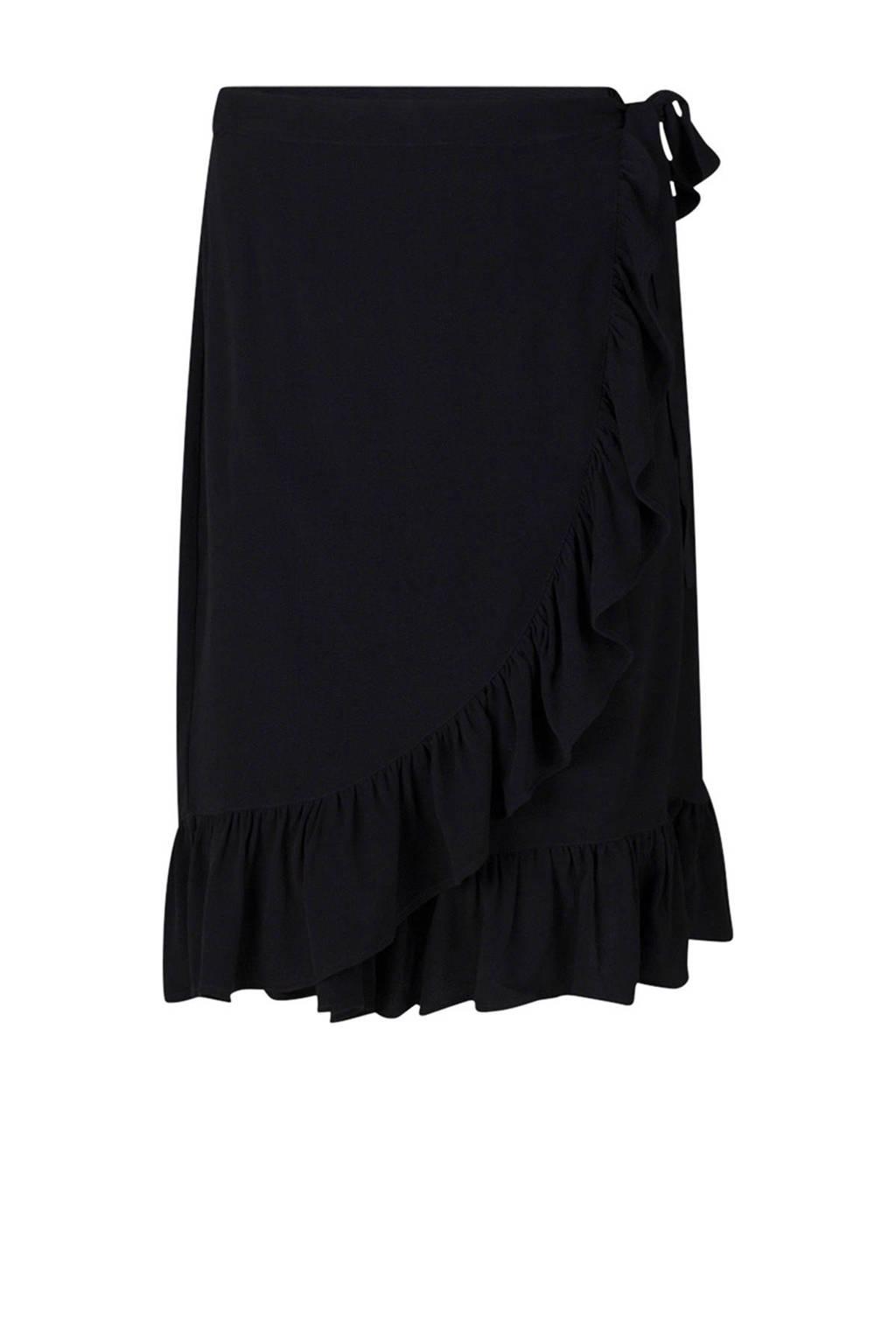 WE Fashion overslag rok zwart, Zwart