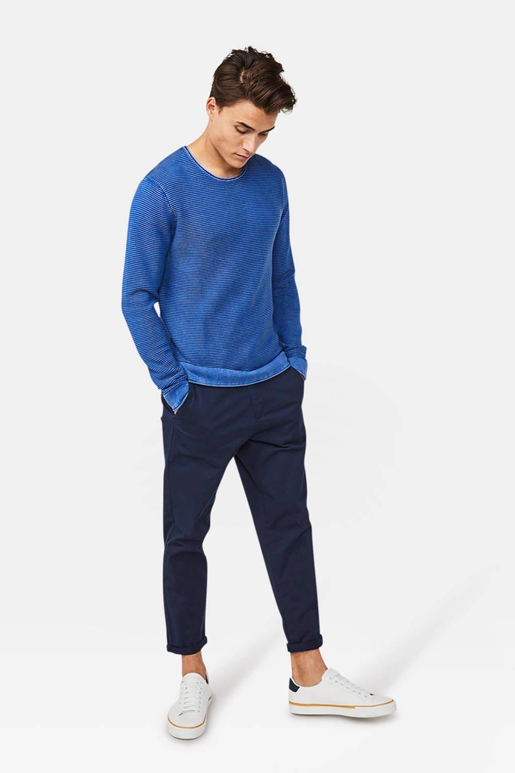 WE Fashion trui met textuur blauw, Blauw