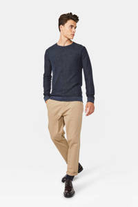 WE Fashion trui met textuur donkerblauw, Donkerblauw