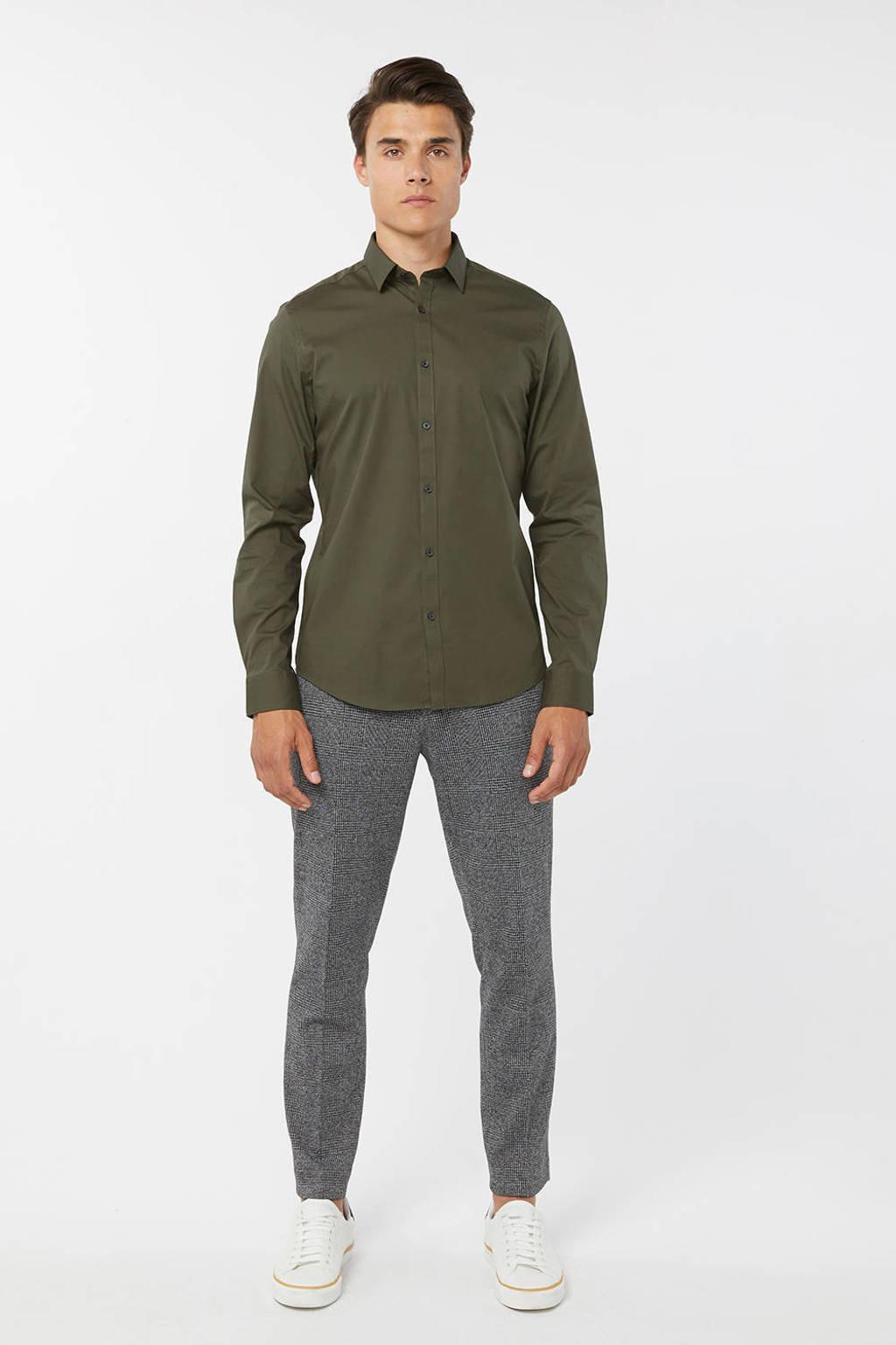 WE Fashion slim fit overhemd, Forest night