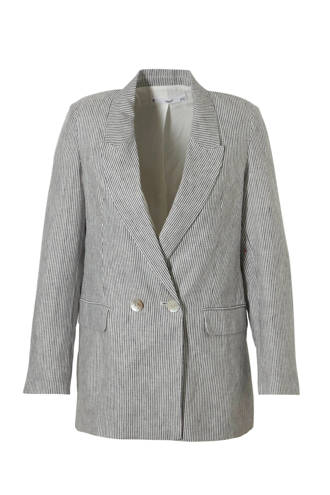 gestreepte linnen blazer blauw/wit