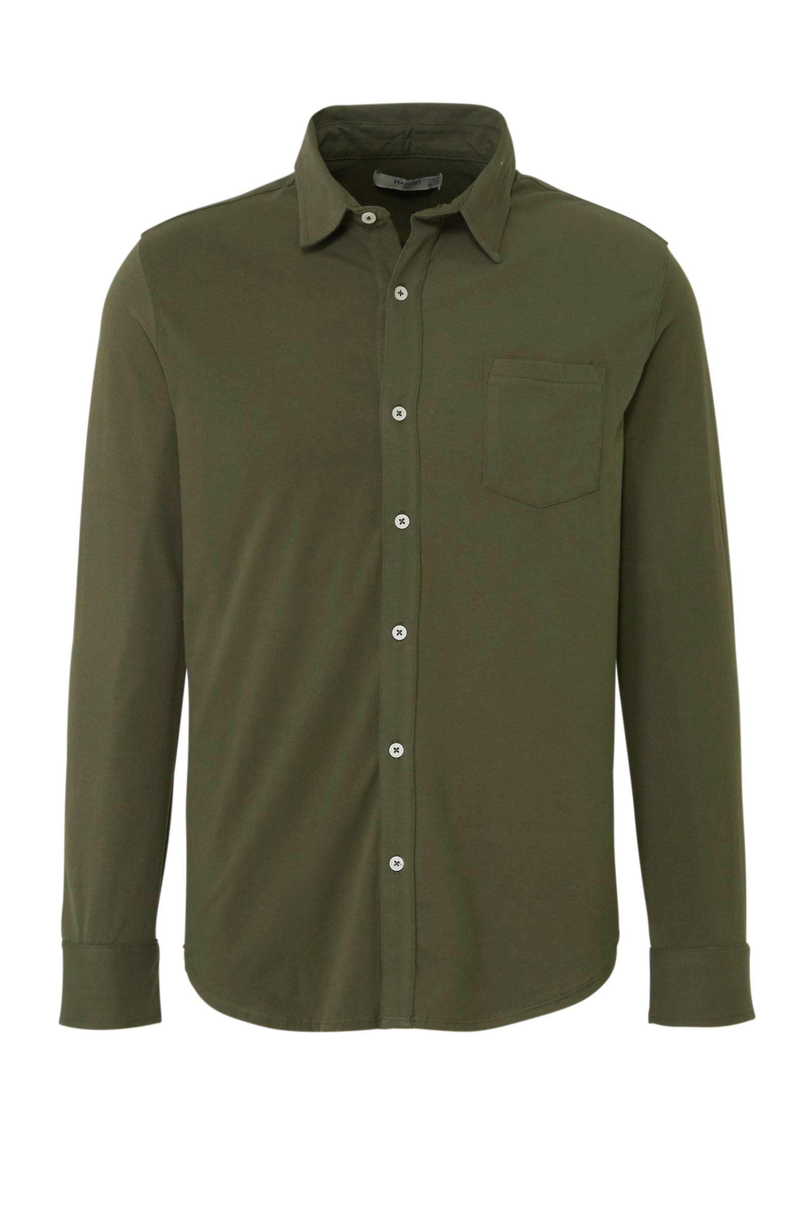 Man regular overhemd jersey groen fit Mango W4YHwnx4