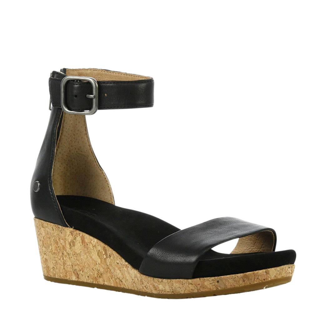UGG Zoe  leren sandalettes zwart, Zwart