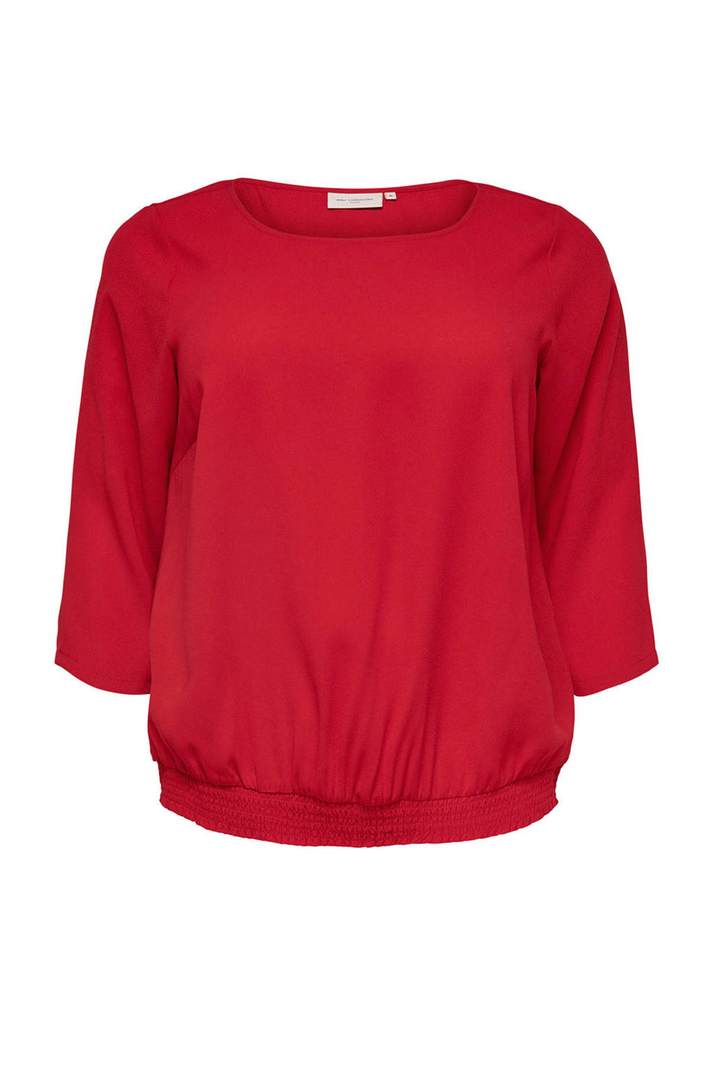 ONLY carmakoma top met driekwart mouw rood, Rood