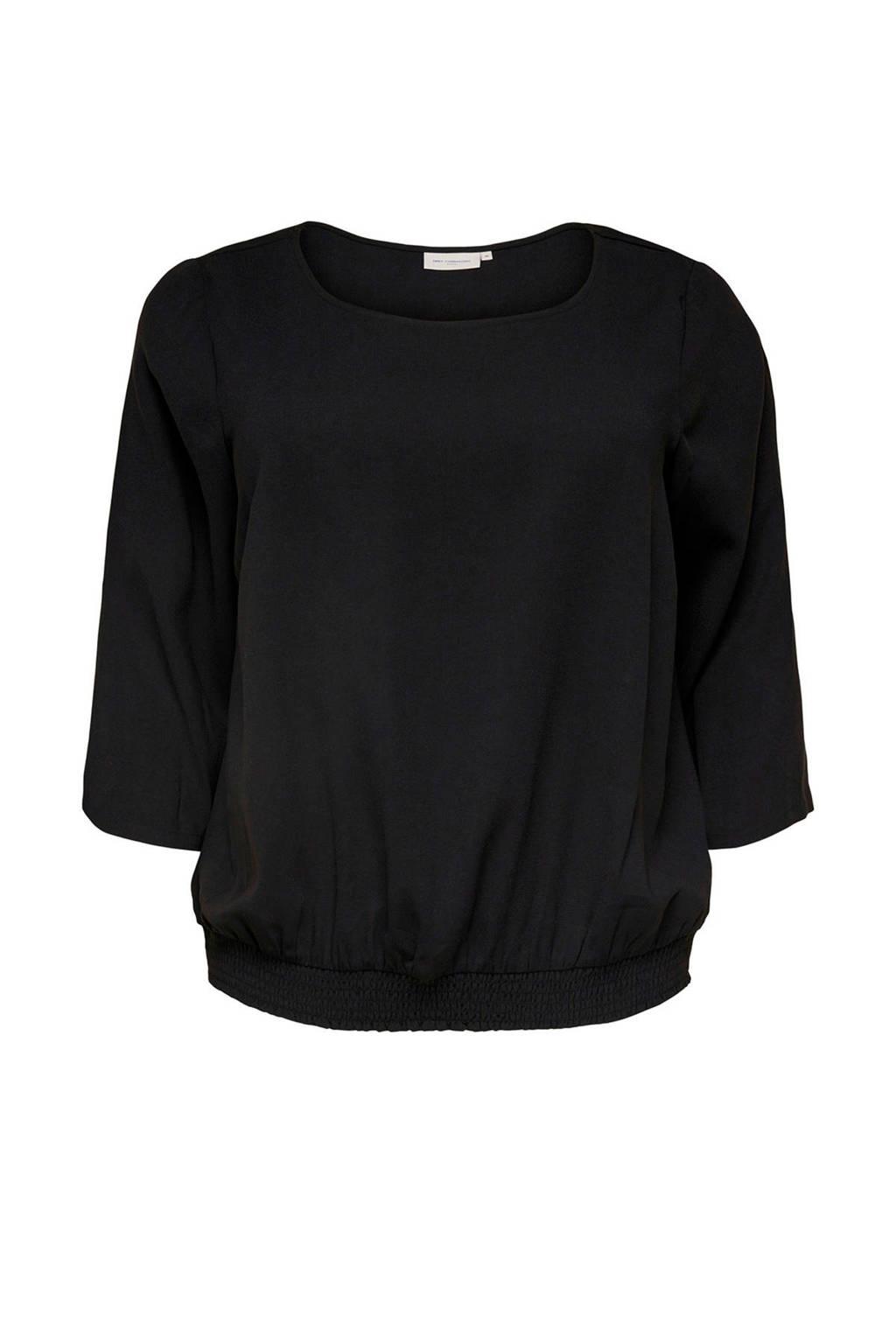 ONLY carmakoma top met driekwart mouw zwart, Zwart