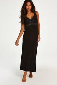Hunkemöller slipdress Modal Lace zwart, Zwart