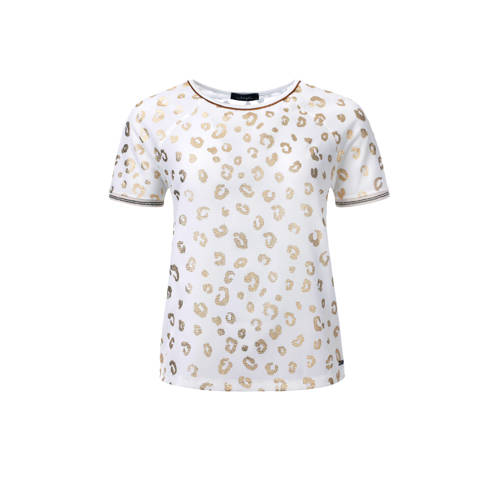 dayz T-shirt met panterprint goud