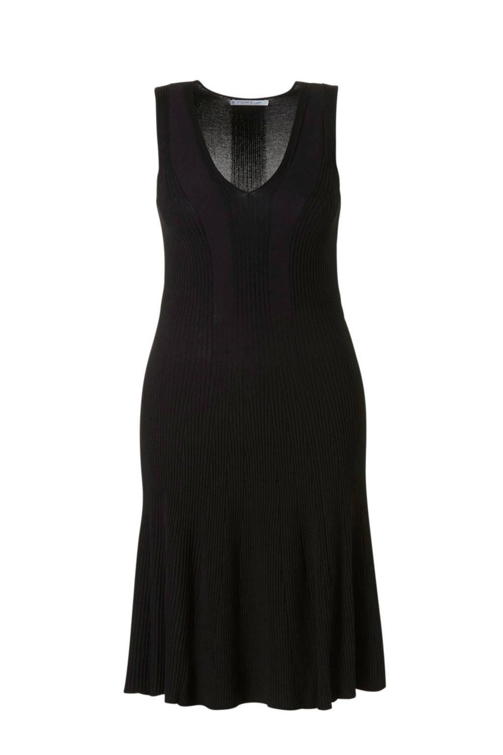 Violeta by Mango jurk gebreid zwart, Zwart