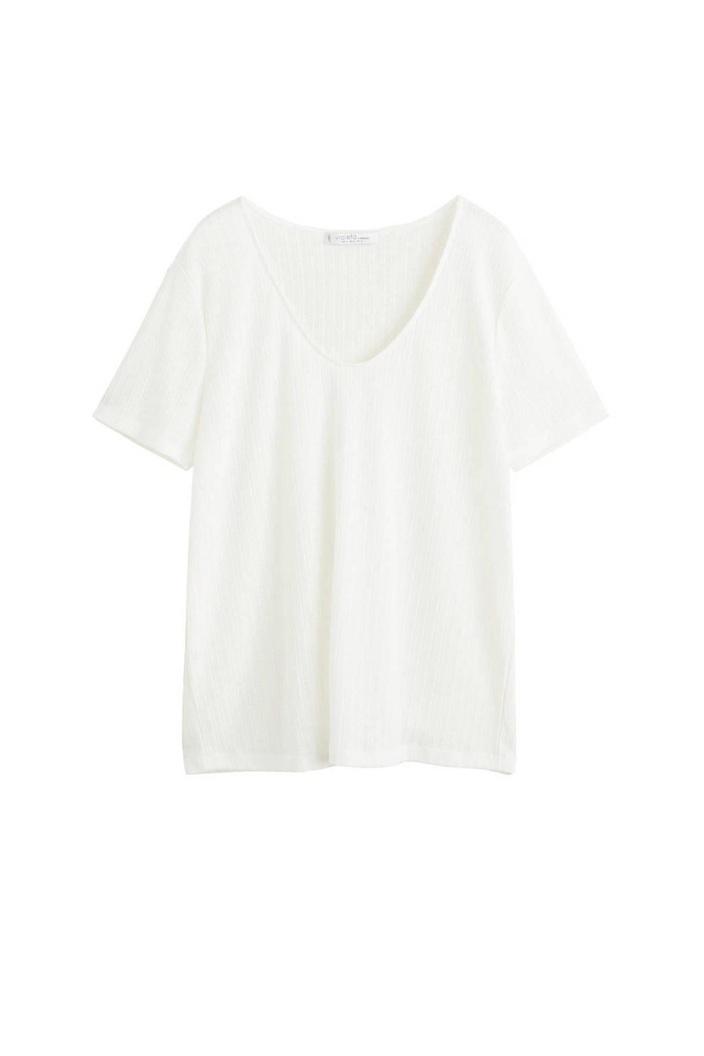 Violeta by Mango T-shirt met diepe ronde hals, Gebroken wit