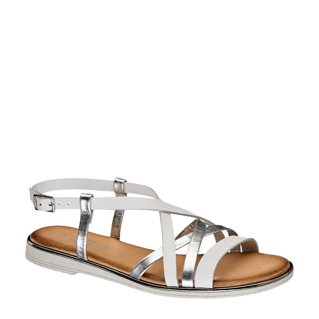 5th Avenue leren sandalen wit/zilver, Wit/zilver
